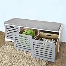 Amazoncom  Haotian FSR23HG Storage Bench With 3 Drawers Bench With Padded Seat