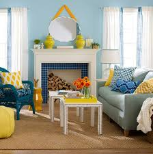 Wall Color Combination For Living Room Soft Blue Wall Color With Beige Sisal Rug And White Fireplace For