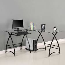 Ikea glass office desk Black Glass Fabulous Home Office Decoration Design With Ikea Glass Desks Interior Ideas Impressive Clear Glass Doragoram Furniture Impressive Clear Glass Shaped Computer Desk With Black