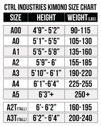 Knight Ctrl Industries Size Chart Brazilian Jiu Jitsu Gi