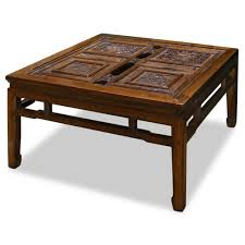 traditional coffee table designs. Antique Stained Wood Square Coffee Table Design Featuring Traditional Carving Designs