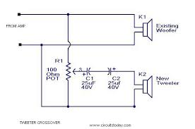 tweeter crossover circuit diagram to filter low frequency tweeter crossover circuit