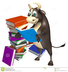bull cartoon character with book stack stock ilration ilration of hoof publication