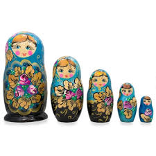 details about set of 5 fl blue and black wooden matryoshka russian nesting dolls 6 inches