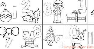 Christmas Countdown Day 1 Advent Calendar Coloring Page Simple
