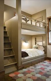 cool bunk beds built into wall. Contemporary Kids Bedroom With Belgian Flax Linen Duvet Cover + Shams - White, Hardwood Floors Cool Bunk Beds Built Into Wall