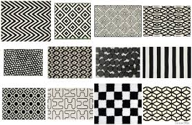 black and white geometric pattern rug