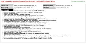 printing press operator job resume