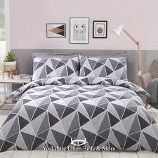 leo geometric duvet cover set grey