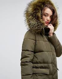boohoo faux fur hood padded coat