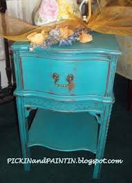 turquoise chalk paint bedside table