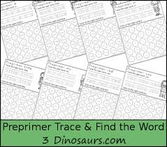 Pre Primer Dolch Free Preprimer Sight Word Trace Find The Word 3 Dinosaurs