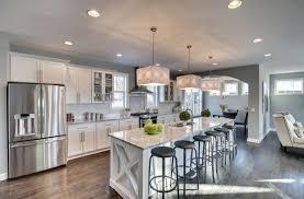Transitional Kitchen with Glass panel, Breakfast bar, Flush, Kitchen island,  One-