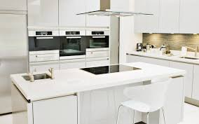 spectacular small all white kitchen added ceiling chimney over electric top stove and built in microwave shelves as modern white themes kitchen ideas