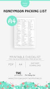 Packing Check List Honeymoon Packing List Minimalist Printable Checklist Honeymoon Checklist Honeymoon Pack List Honeymoon Gift Idea Packing Checklist