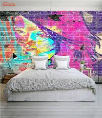 liberty bedroom wall mural: abstract graffiti brick d room wallpaper female face for d livingroom photo wall paper prints kids