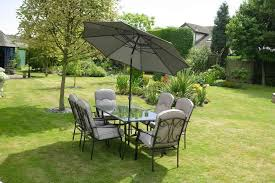 quality black grey padded 6 seater 8 piece metal garden dining set table 6 chairs
