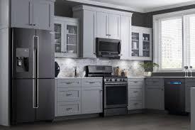 kitchen ideas white cabinets black appliances. Kitchen With Black Appliances Stainless Steel Finish The New Or Not Prevo Idea 15 Ideas White Cabinets L