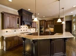 two tone wood kitchen large bar island