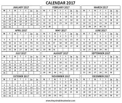Printable 2017 Calendar 24 Calendar 24 Months Calendar On One Page Free Printable Calendar 17