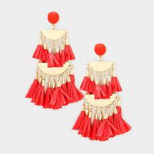 the rory oversized raffia chandelier earrings red
