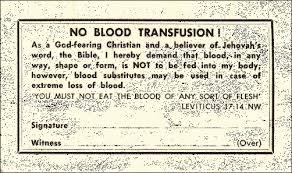 "Sample Advance Directive Form Custom Watchtower ""No Blood Card"" AJWRBorg"