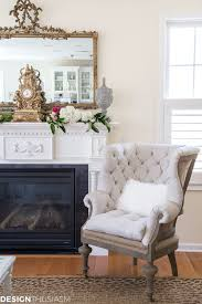 a french style chair accentuates a spring mantel designthusiasm com