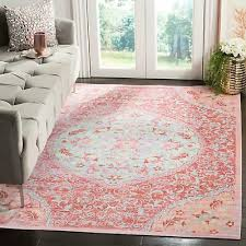safavieh windsor shabby chic medallion rose seafoam rug 5 x 7