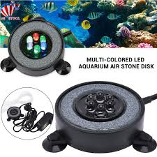 Details About Led Aquarium Multi Colored Air Stone Disk Round Fish Tank Bubbler Changing Light