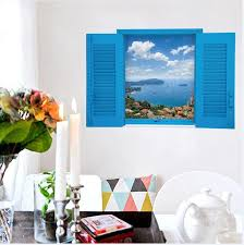 sk9060 warm romantic blus false window scenery sea 3d wall stickers removable wall sticker mural decal wall art sticker es wall art stickers from