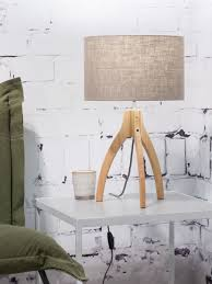 Goodmojo Annapurna Bamboo Table Lamp In Bamboo Dark Eco Linen