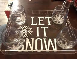 acrylic stemless wine glasses monogrammed tray and