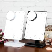 Us 23 57 22 Off Tabletop Lamp Adjust Brightness 20led Lighted Makeup Mirror Touch Dimmable Desk Table Lamp W 10x Magnifie Nightlight For Bedroom In