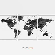 World Map Posters World Map Black And White 3 Piece Wall Art Art Prints Vicky