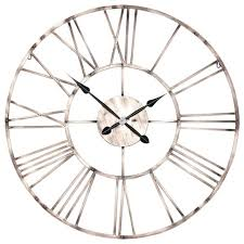 large vintage copper effect industrial skeleton metal wall clock uk
