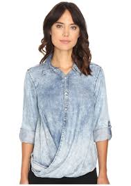 Nyc Denim Drape Front Shirt In Glamper