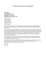 Dental Assisting Cover Letter Dental Assistant Cover Letter Sample