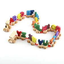 26 wooden train set alphabet wood letters w wheels kids toddler educational toy for