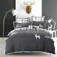 grey duvet cover king queen king size pure cotton grey bedding sets soft bedclothes embroidery deer penguin bed sheet set duvet cover pillowcases grey duvet