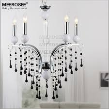 5 lights black crystal chandelier light k9 crystal modern style dining room chandelier re lighting for bedroom