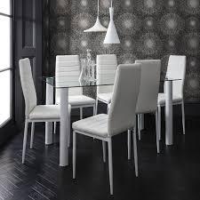 Laura James Glass Esstisch Set Und 6 Stühle In Weiß