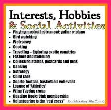 Resume Interests Section Interest Section Of Resumes Resume Hobbies Stunning Hobbies And Interests For Resume Example