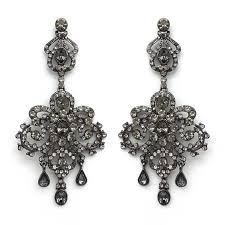 black large vintage chandelier earrings
