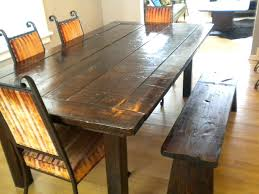 rustic wood dining table set unique room sets 4 chairs with bench above floor around paint