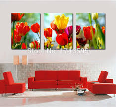 >big 3pcs home wall decor abstract red yellow tulip canvas wall art  big 3pcs home wall decor abstract red yellow tulip canvas wall art picture for living room