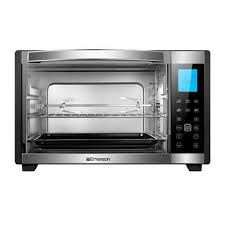 emerson radio er101004 stainless steel 6 slice convection rotisserie countertop toaster oven with digital touch control black