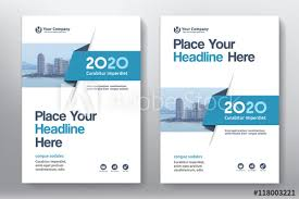 blue color scheme with city background business book cover design template in a4 easy to