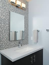Backsplash Bathroom Ideas Interesting Large Mosaik Modern Bathroom Backsplash Ideas With Corner Vanity