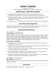 Sample Resume Experienced Finance Professional New Mortgage Loan