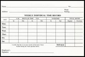 Weekly Time Record Weekly Time Cards Wtc